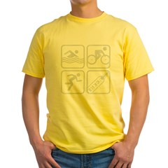 swimbikerunBeer-Grey Yellow T-Shirt