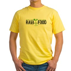 RawFood_DARK_Background Yellow T-Shirt
