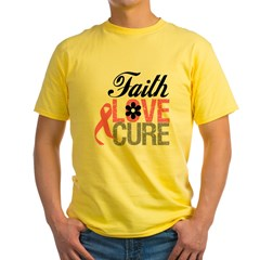 Faith Love Cure Breast Cancer Yellow T-Shirt