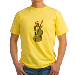 Sock Monkey Bass Player Yellow T-Shirt