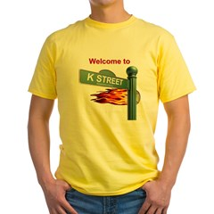 Welcome to K Street Ash Grey Mens Yellow T-Shirt