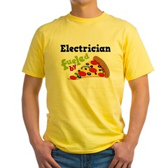 Electrician Funny Pizza Yellow T-Shirt