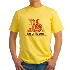 Chinese Paper Cut Year of The Snake Yellow T-Shirt