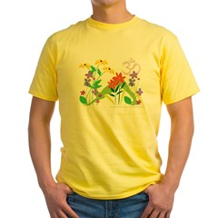 Humming Flowers by Nancy Vala Yellow T-Shirt