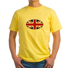 UK (Union Jack) Flag in Oval Yellow T-Shirt