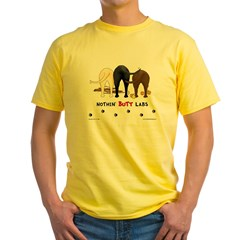 Labrador Butts with Sticks/Balls Ash Grey Yellow T-Shirt