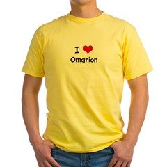 I LOVE OMARION Ash Grey Yellow T-Shirt