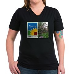 Eye on Gardening Tropical Plants Women's V-Neck Dark T-Shirt