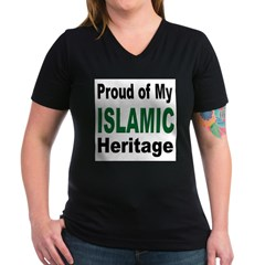 Proud Islamic Heritage Women's V-Neck Dark T-Shirt