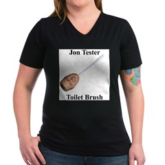 Jon Tester Toilet Brush Women's V-Neck Dark T-Shirt