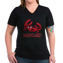 Maryland Crab Women's V-Neck Dark T-Shirt