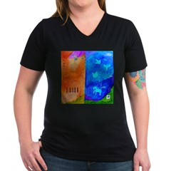 Night Fall Freedom Women's V-Neck Dark T-Shirt