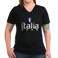 Italia soccer t-shirts 4 Star Italia shir Women's V-Neck Dark T-Shirt
