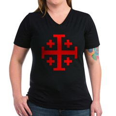 Crusaders Cross (Red) Women's V-Neck Dark T-Shirt