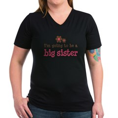big sister pink brown flower Women's V-Neck Dark T-Shirt