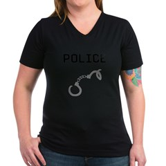 Police Handcuffs Women's V-Neck Dark T-Shirt