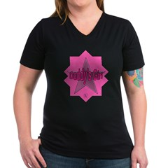 Daddy's Girl (Star) Women's V-Neck Dark T-Shirt