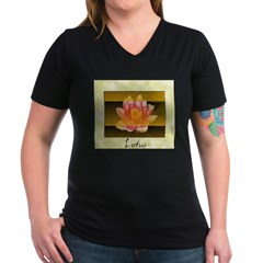 Good Morning Lotus Women's V-Neck Dark T-Shirt