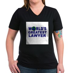 World's Greatest Lawyer Women's V-Neck Dark T-Shirt