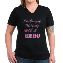 I'm carrying the baby of a He Women's V-Neck Dark T-Shirt
