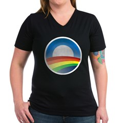 gayprideObamaO Women's V-Neck Dark T-Shirt