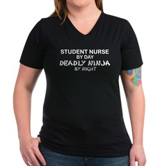 Student Nurse Deadly Ninja by Nigh Women's V-Neck Dark T-Shirt
