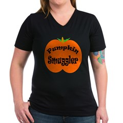 Pumpkin Smuggler Women's V-Neck Dark T-Shirt