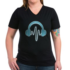 Blue Headphones Maternity Tee (Dark) Women's V-Neck Dark T-Shirt