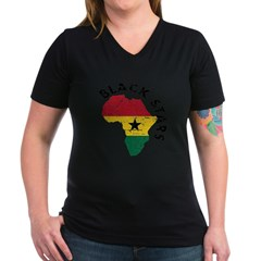 Ghana Black stars Women's V-Neck Dark T-Shirt