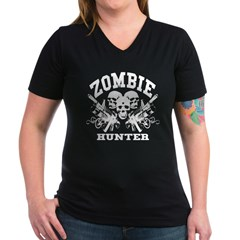 Zombie Hunter - Women's V-Neck Dark T-Shirt