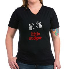 Little Nudger Women's V-Neck Dark T-Shirt