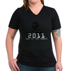 2011 Chinese New Year of The Rabbi Women's V-Neck Dark T-Shirt