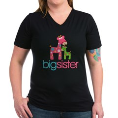 funky giraffe sister no name Women's V-Neck Dark T-Shirt