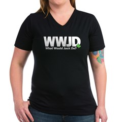 WWJackDo Women's V-Neck Dark T-Shirt