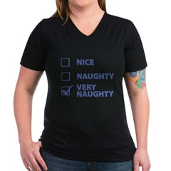 Very Naughty Women's V-Neck Dark T-Shirt