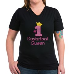 Number One Basketball Queen Women's V-Neck Dark T-Shirt