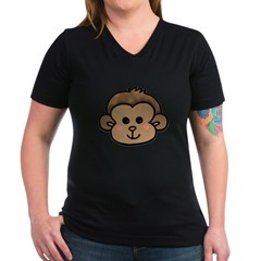 Monkey Face Women's V-Neck Dark T-Shirt