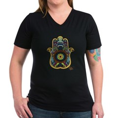 Hamsa Women's V-Neck Dark T-Shirt