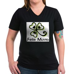 Feis Mom Women's V-Neck Dark T-Shirt