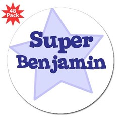 "Super Benjamin Oval 3"" Lapel Sticker (48 pk)"