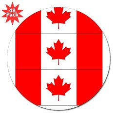 "Flag of Canada Stickers 3pc 3"" Lapel Sticker (48 pk)"