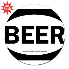 "BEER Oval 3"" Lapel Sticker (48 pk)"