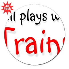 "Still plays with Trains Rectangle 3"" Lapel Sticker (48 pk)"