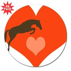 "horse hearts Oval 3"" Lapel Sticker (48 pk)"