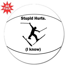 "Skiing Stupid Hurts Oval 3"" Lapel Sticker (48 pk)"