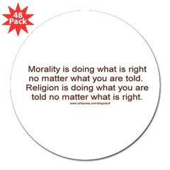&quot;Morality vs. Religion&quot; 3&quot; Lapel Sticker (48 pk)