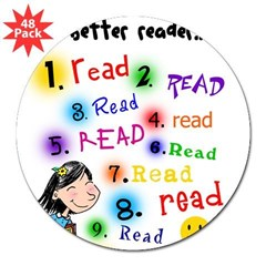 Read Better Rectangle 3&quot; Lapel Sticker (48 pk)
