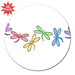 "Rainbow Dragonflies Rectangle 3"" Lapel Sticker (48 pk)"