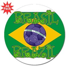 "Brazil soccer Rectangle 3"" Lapel Sticker (48 pk)"