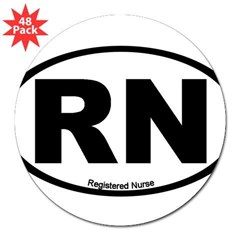 "Registered Nurse Oval 3"" Lapel Sticker (48 pk)"